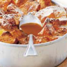 Bread & Butterpudding met whiskey-marmelade & butterscotch-saus