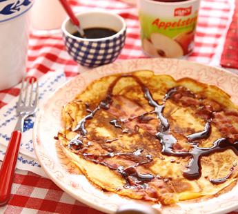 Spekpannenkoek met appel en stroop